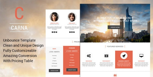 Carna - Premium Unbounce Landing Page Template - Unbounce Landing Pages Marketing