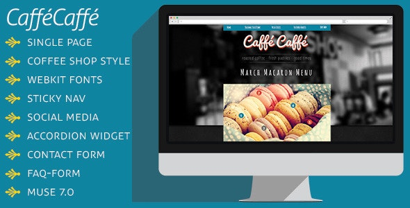 CafféCaffé Coffee Shop Muse Template - Miscellaneous Muse Templates