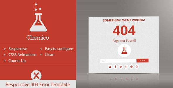 Chemico - Responsive Animated 404 Error Template - 404 Pages Specialty Pages