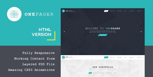 Onepager - Responsive One Page HTML Template - Business Corporate