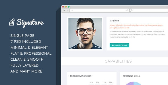 Signature - OnePage Personal Resume PSD Theme - Personal Photoshop