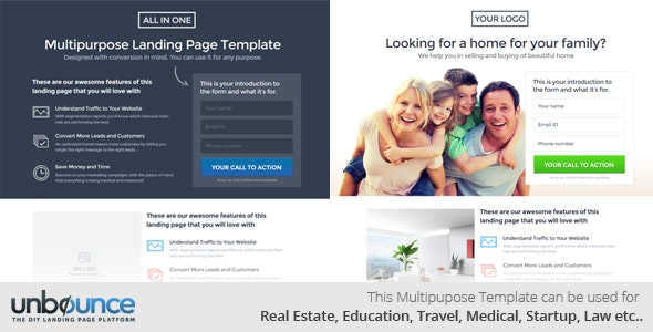 All in one Multipurpose Landing Page Template - Unbounce Landing Pages Marketing