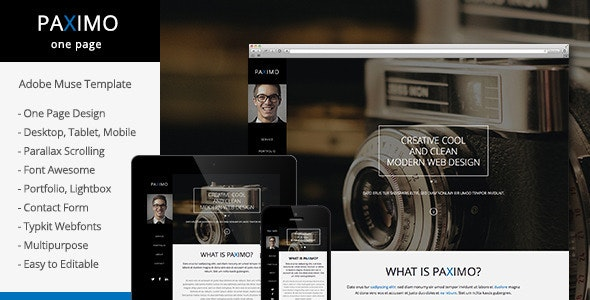 Paximo -Parallax Portfolio Muse Template - Personal Muse Templates