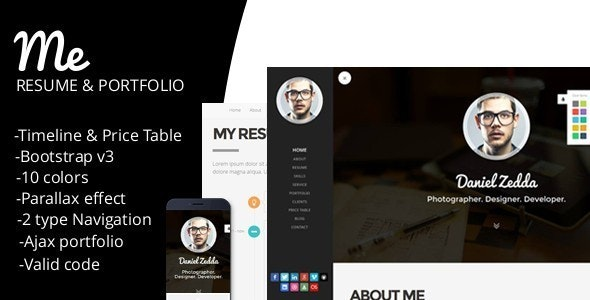 ME-Responsive Personal Resume & Portfolio Template - Resume / CV Specialty Pages