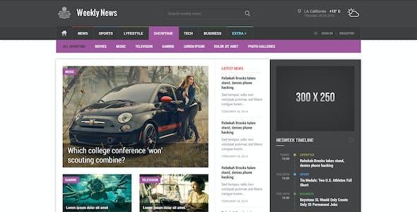 Weekly News - Premium News/Magazine PSD Template