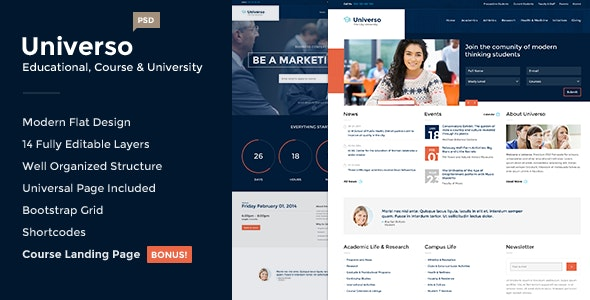 Universo - Educational, Course and University PSD - Corporate Photoshop