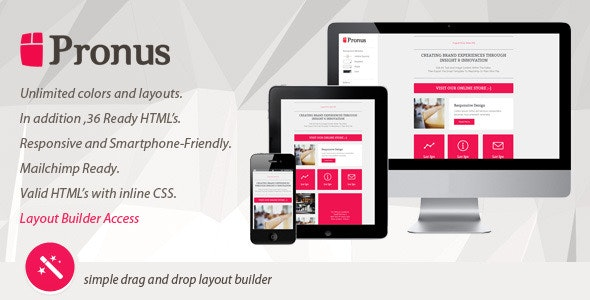 PRONUS - Flat Responsive Email With Layout Builder - Catalogs Email Templates