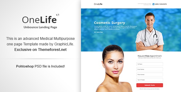 OneLife - Unbounce Template - Unbounce Landing Pages Marketing