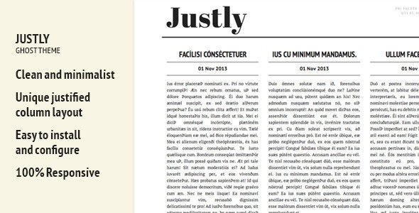 Justly - Ghost Themes Blogging