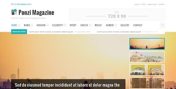 Ponzi Magazine Blog and News PSD Template