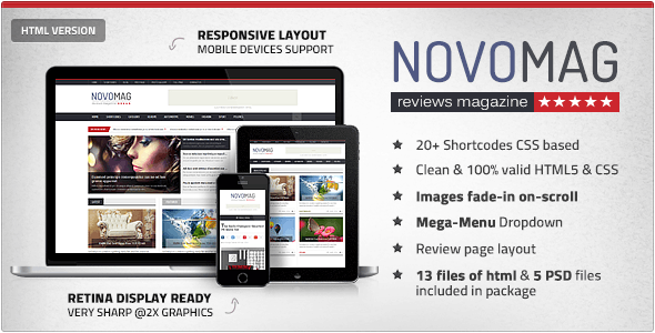 NovoMag - Clean Magazine & Review HTML Template - Technology Site Templates