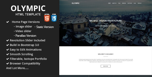 Olympic One Page Parallax Template - Portfolio Creative