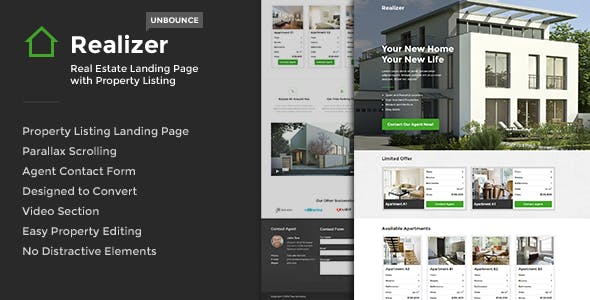 Realizer - Real Estate Landing w/ Property Listing