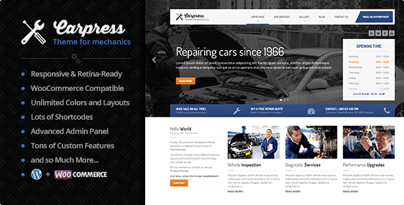 CarPress - WordPress Theme For Mechanic Workshops - Retail WordPress