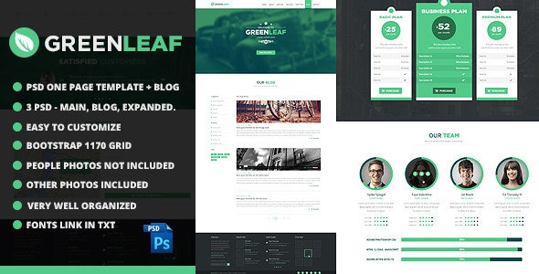 GreenLeaf One Page Web + Blog PSD Template - Photoshop UI Templates