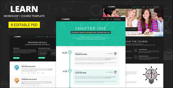 Learn - Courses and Educational PSD template - Corporate Photoshop
