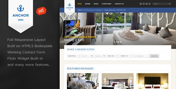 Anchor Inn - Hotel and Resort Site Template - Travel Retail