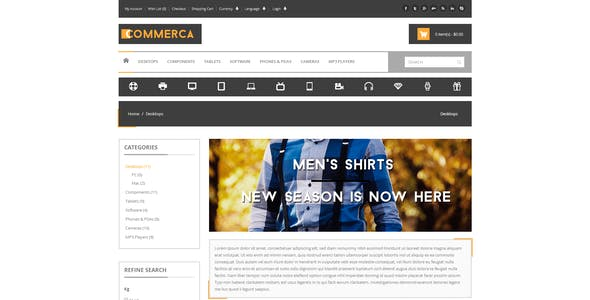 Commercashop Responsive E-commerce Template