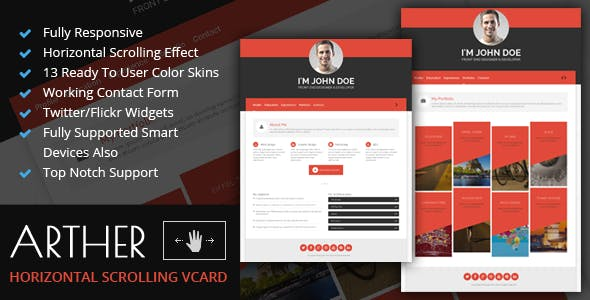 Horizontal Scroll Website Templates from ThemeForest