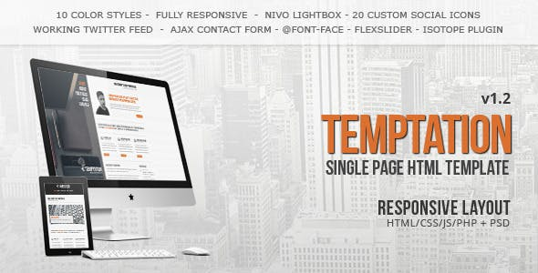 Temptation - a Single Page Template