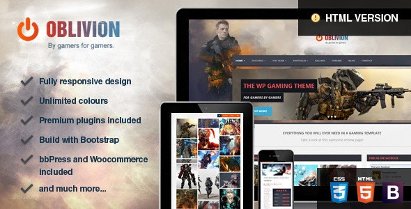 Oblivion - The Multi-Purpose Gaming Template - Technology Site Templates