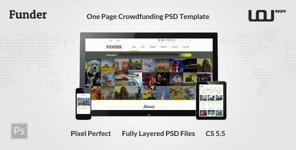 FUNDER - One Page Crowdfunding PSD Template - Miscellaneous Photoshop