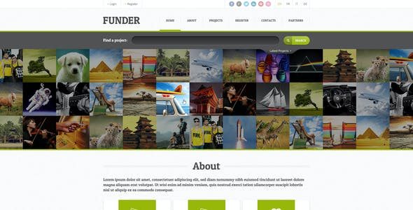 FUNDER - One Page Crowdfunding PSD Template