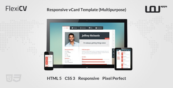 FlexiCV - Responsive vCard Template (Multipurpose) - Virtual Business Card Personal