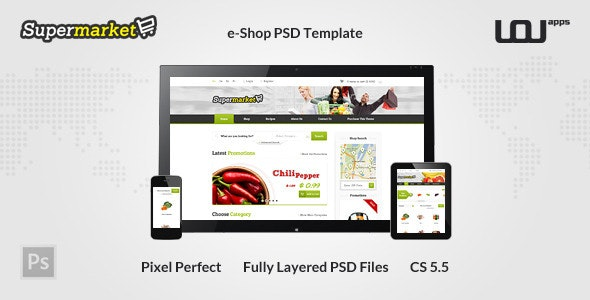 SUPERMARKET - e-Shop PSD Template - Shopping Retail