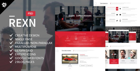 Rexn | Multi-Purpose Parallax PSD Landing Page  - Creative Photoshop