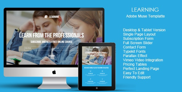 Learning Landing Page Template - Landing Muse Templates