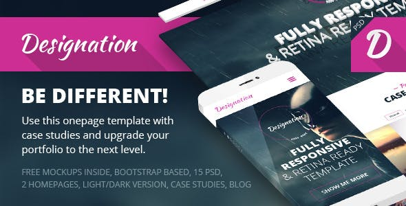 Designation | One Page Portfolio PSD Template