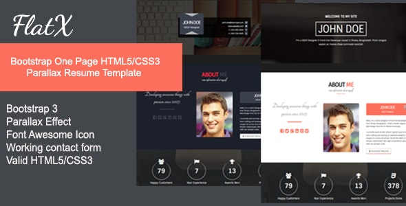 FlatX - Bootstrap Onepage Parallax Resume Template - Resume / CV Specialty Pages