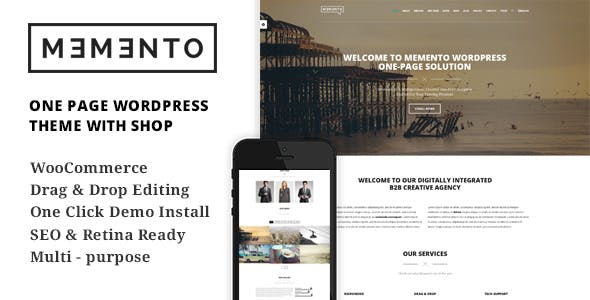 Memento - One Page and Multi Page WordPress Theme With WooCommerce - A Creative Shop Theme