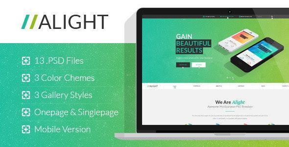 Alight - Multipurpose Onepage & Multipage PSD - Corporate Photoshop