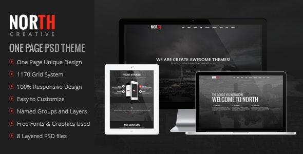 North One Page PSD Template - Creative Photoshop