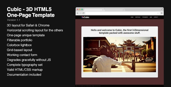 Cubic - 3D HTML5 One-Page Template - Portfolio Creative