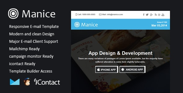 Manice - Responsive Email + Themebuilder Access - Email Templates Marketing
