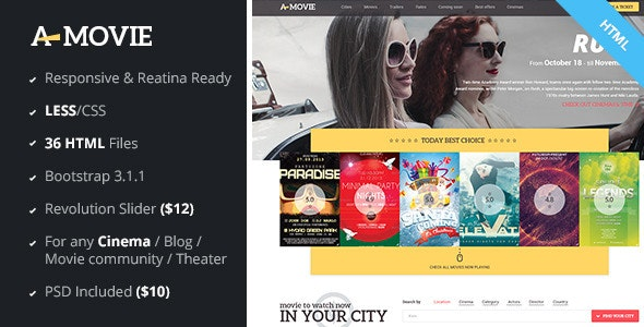 A.Movie - Cinema/Movie HTML LESS Template - Film & TV Entertainment