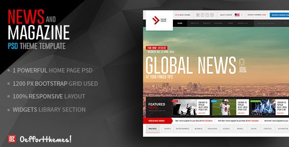 Prime News-Online News and Magazine Template - Entertainment Photoshop
