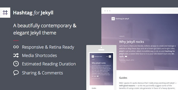 Hashtag for Jekyll - An Elegant Blog Theme - Jekyll Static Site Generators
