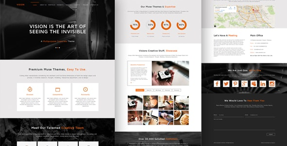 Vision One Page Multi Purpose Muse Template - Muse Templates