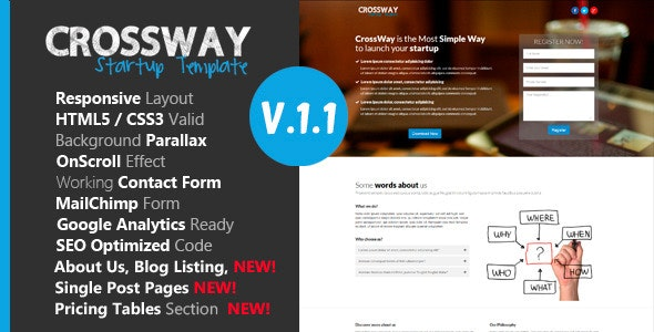 Crossway - Startup Landing Page Template - Landing Pages Marketing