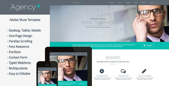 AgencyPlus - One Page Multi-Purpose Muse Template - Creative Muse Templates