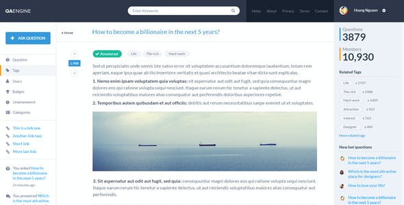 QAEngine - Questions & Answers Site PSD Template