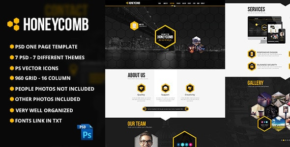 Honeycomb One Page PSD Template - Creative Photoshop