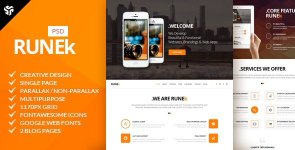 Runek | Multi-Purpose Parallax PSD Landing Page  - Creative Photoshop
