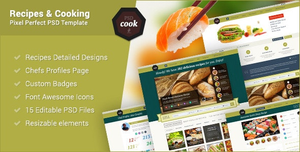 PSDCook - Recipes & Cooking PSD Design - Miscellaneous Photoshop