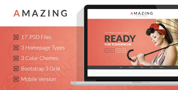 Amazing - Multipurpose Onepage & Multipage PSD Template - Creative Photoshop