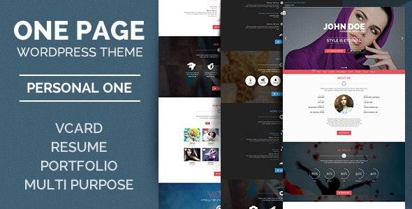 Personal One - OnePage / VCard / WordPress Theme - Creative WordPress